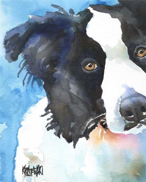 Border Collie Art Print of Original Watercolor Painting - 11x14 Dog Art - dogartstudio