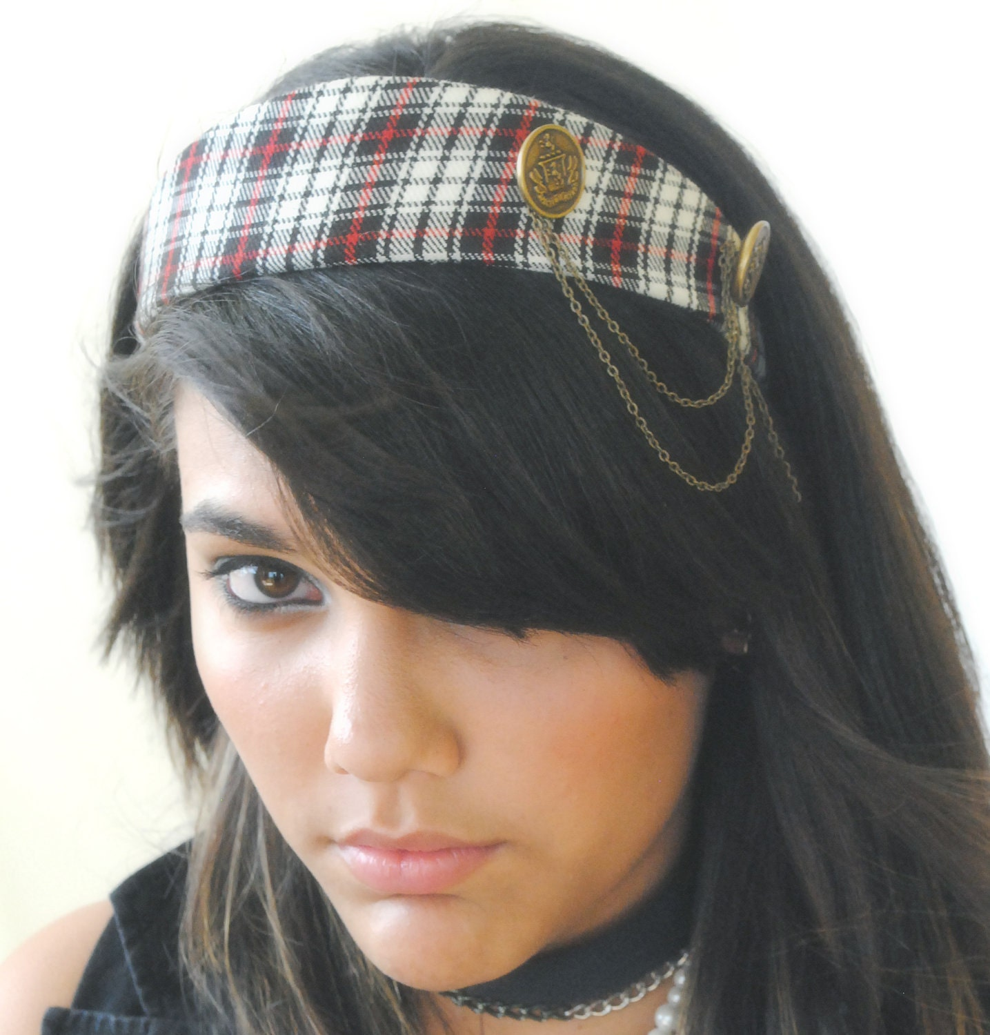 Headband Plaid Military Vintage Inspired Red Black White Vintage Button Antique Chain - by Sophia Touassa Millinery & Accessories