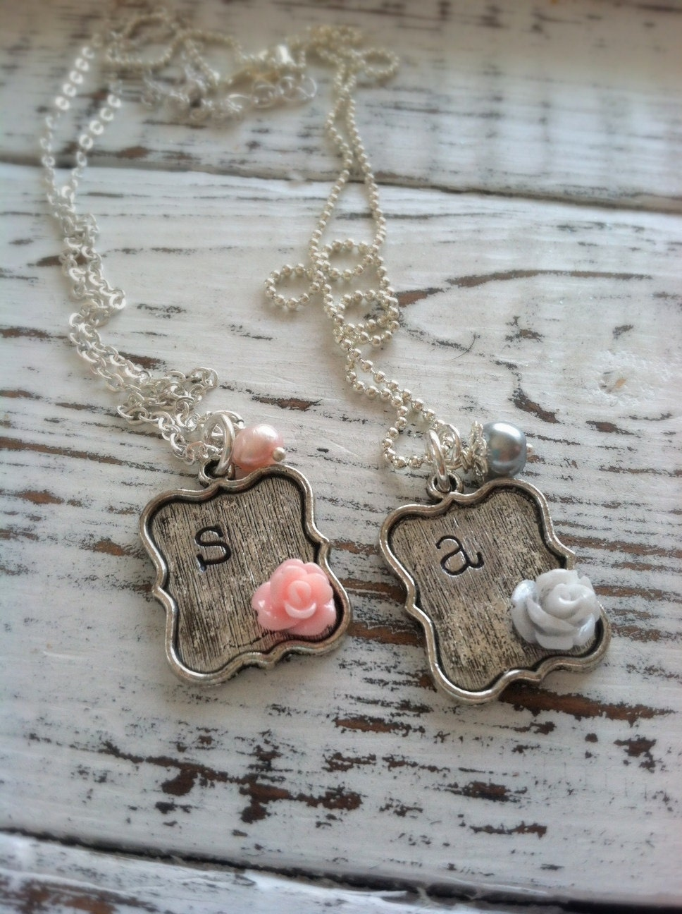 Stamped Initial Sweet Rose Necklace