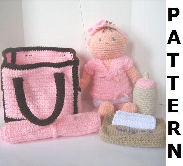 Crochet Dice Bag Pattern : Baby Doll with Diaper Bag Crochet Pattern by ...