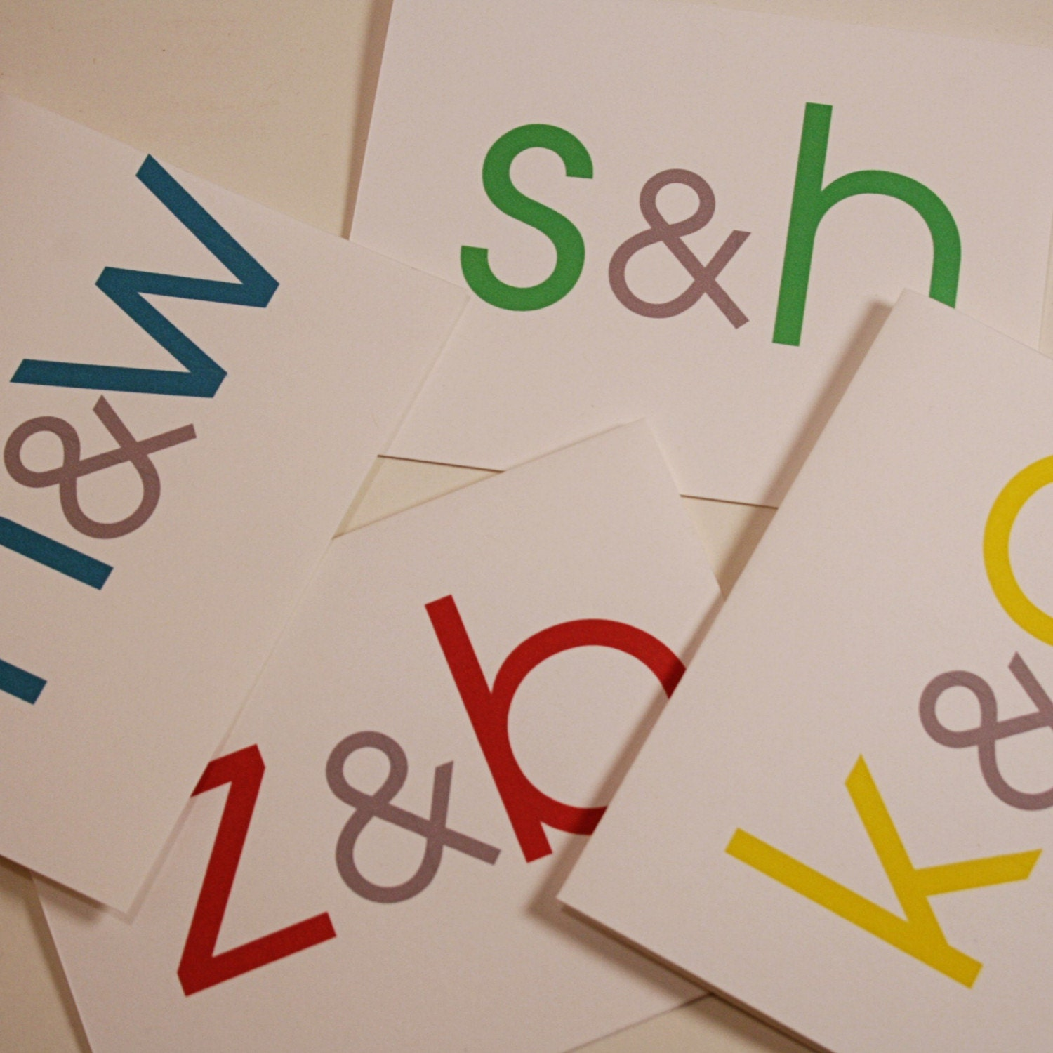 Double Initial Cards (Set of 8)