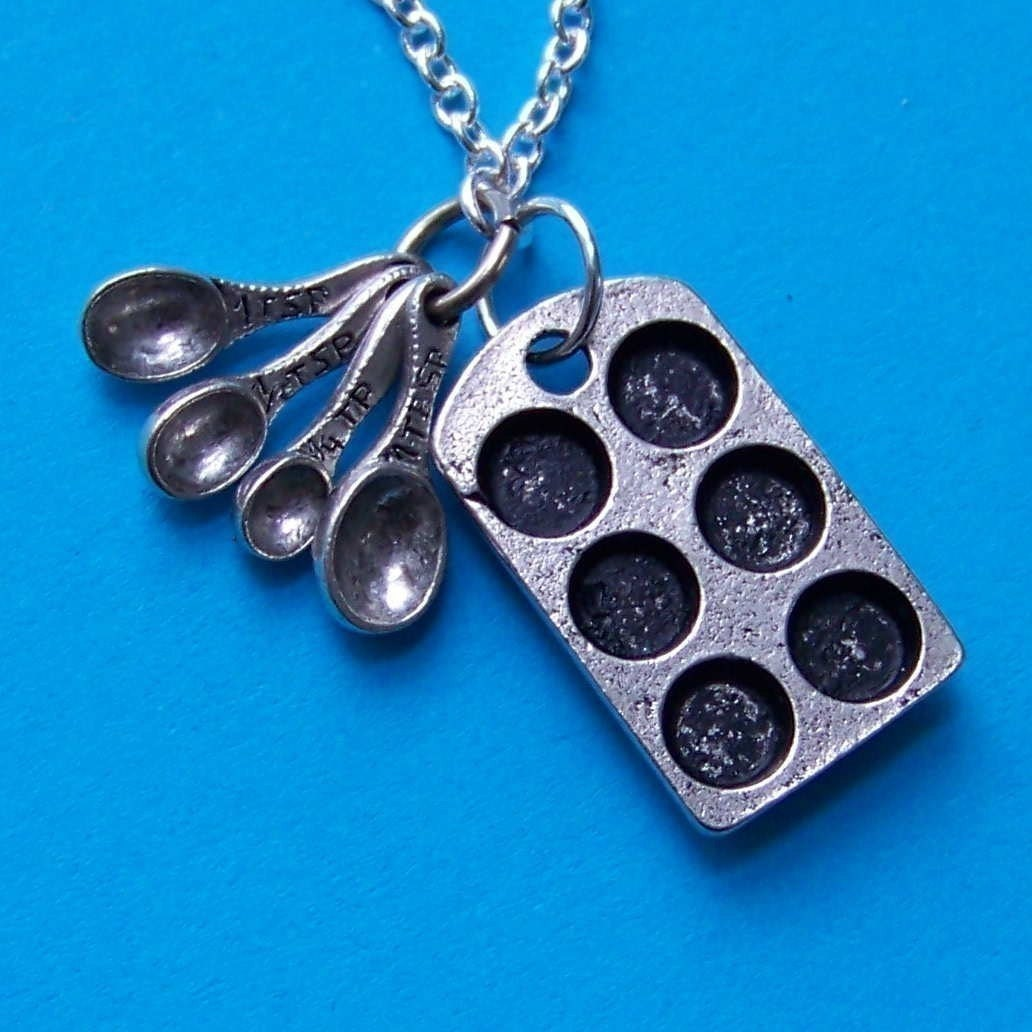 Baker Charm  Necklace with Antiqued Muffin Tin and Measuring Spoons