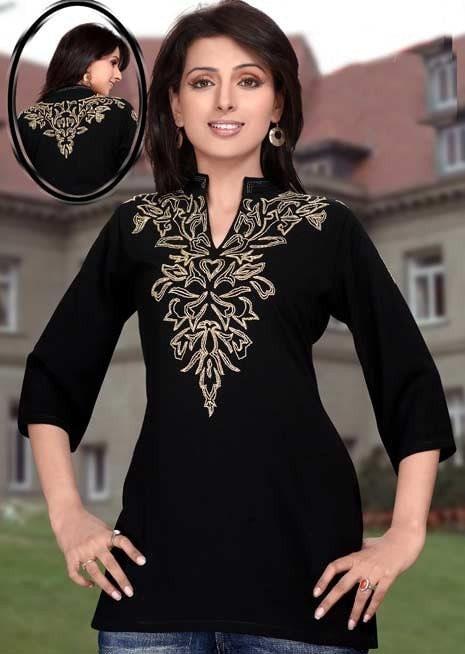 سیاه پنبه دوزی یقه لباس کوتاه / بالا برای خانمها