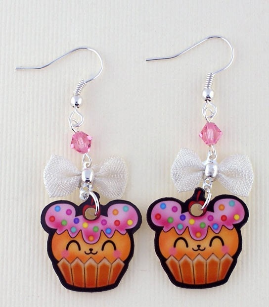 SALE Adorable Cupcake Bear Printed Acrylic Earrings with swarovski crystals and bow kawaii Japanese lolita harajuku anime style/inspired