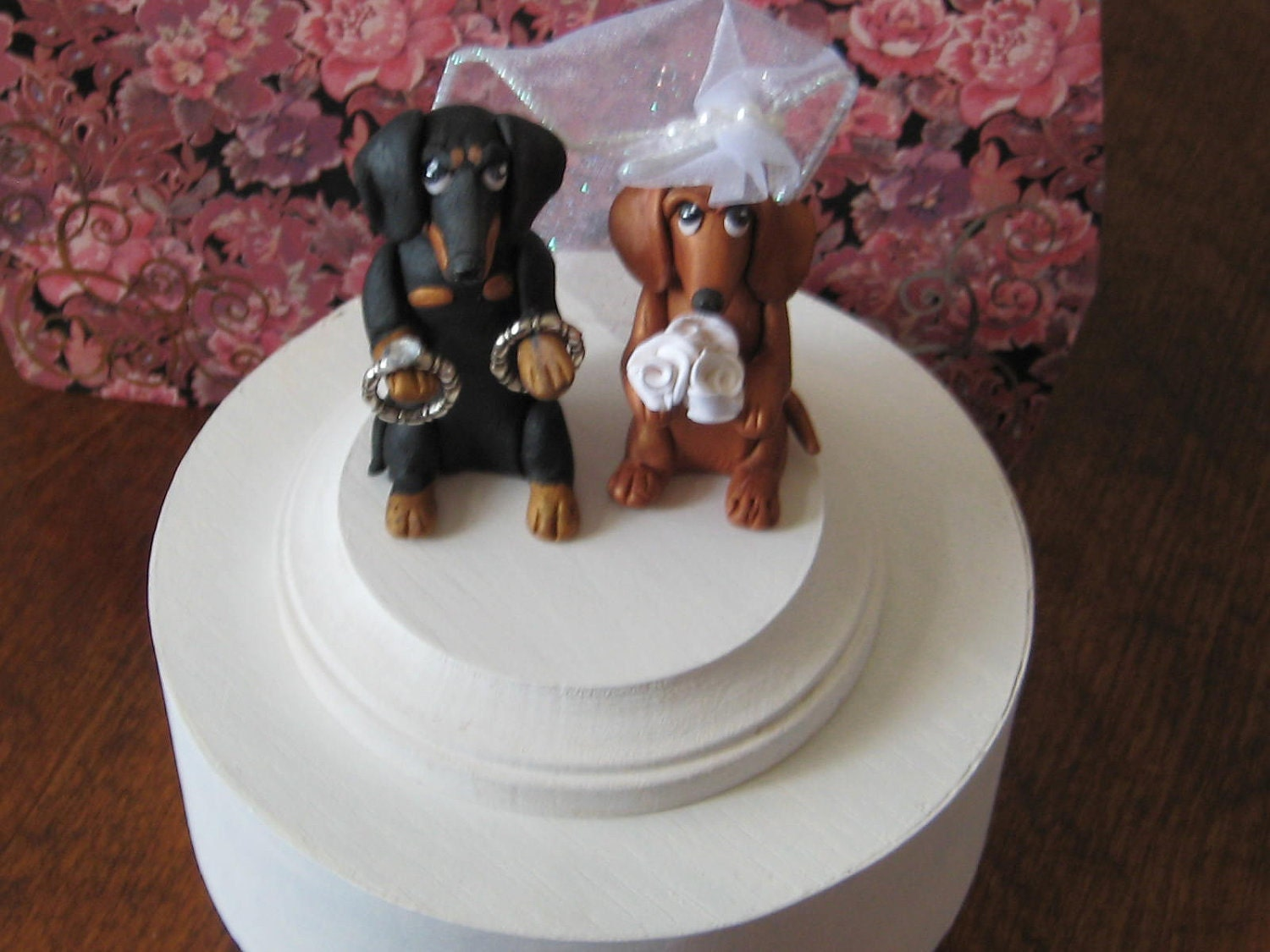 Clay Dachshund Dogs Wedding Cake Topper or by PawsnClaws