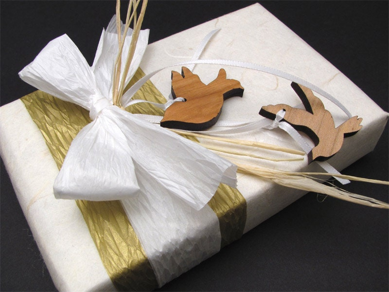 Wedding White . Eco Friendly Gift Wrapping with Wedding Dove Charms - Timber Green Woods . tagt team