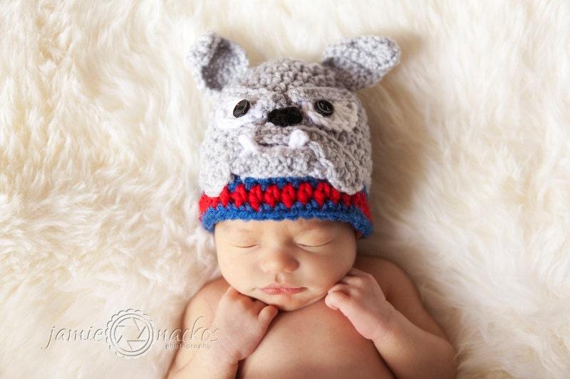 Free Pattern For Crochet Bulldog : Bulldog Hat PATTERN Crochet by SweetPotato3Patterns on Etsy