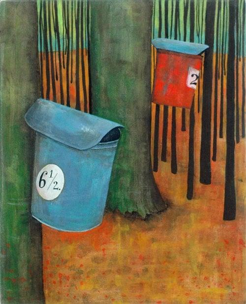 Maple Sap Buckets Painting
