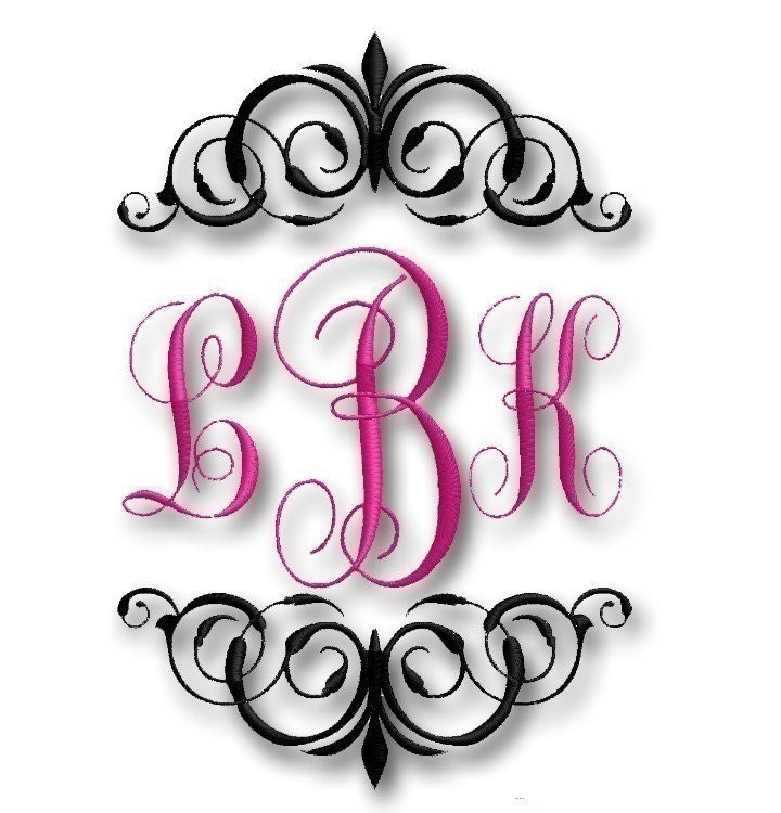 Regal font frame for embroidery monogram by diybydaintycouture