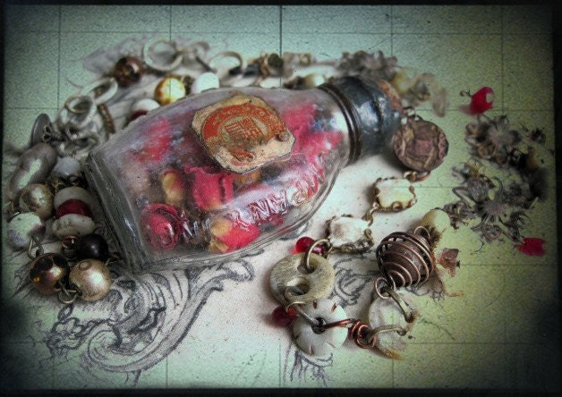 The Stages of Courtly Love.  Dried Rosebuds Assemblage Necklace.