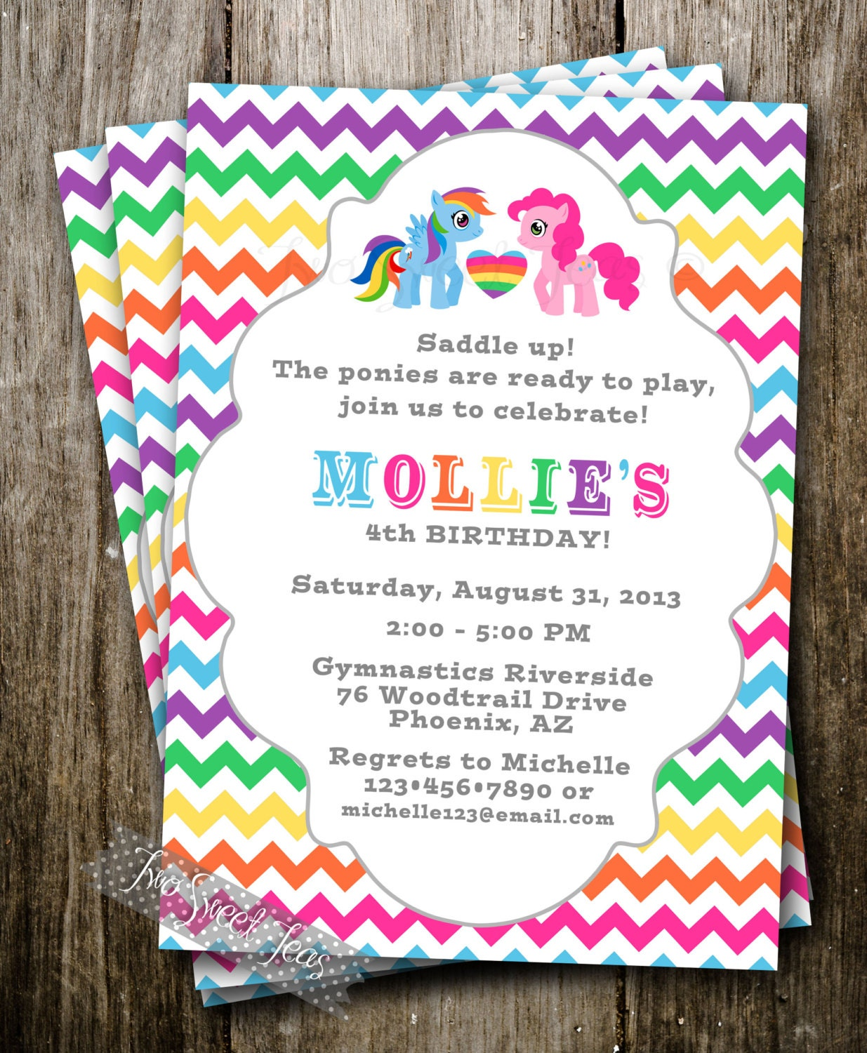 My Little Pony Inspired Invitation Party Raindow Girl Birthday Digital ...
