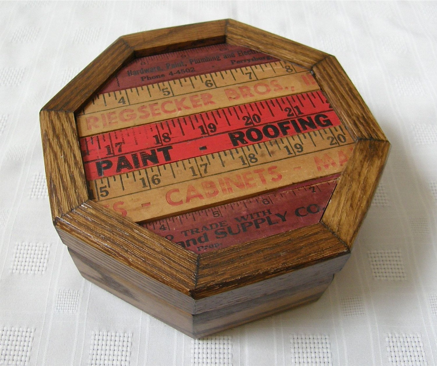 Upcycled Box, Wood, Desk, Organizer, Vintage Ruler, Found Object by MalcolmStudioShop on Etsy