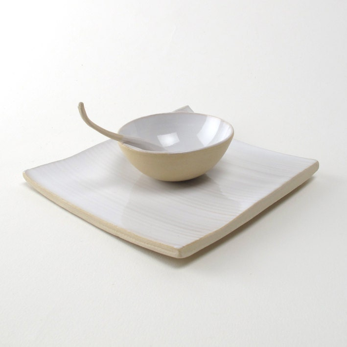 Appetizer set/ square plate with small bowl and funky little spoon