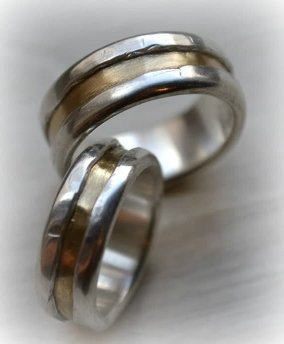 His And Hers Wedding Bands Artisan Designed Handmade Fine Silver And
