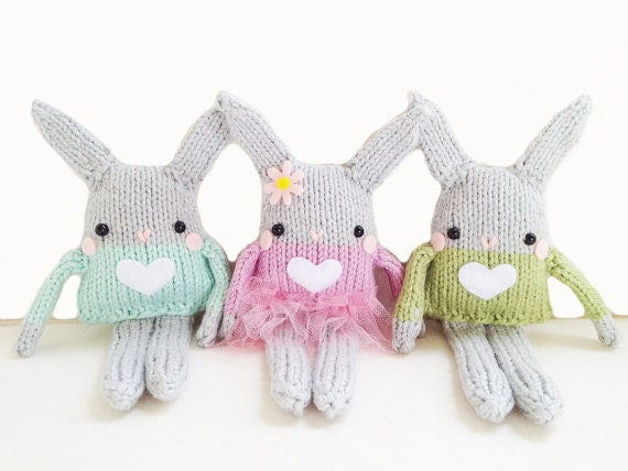 Bunny Knitting Pattern Mini Bunny Toy Easter by GandGPatterns