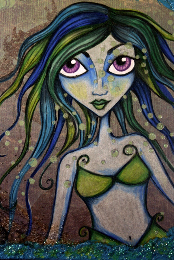 Special of the Day - The Green Mermaid - Mixed Media Wooden Cigar box