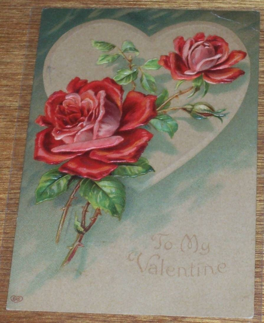 Vintage Valentine Postcard Ephemera Roses Altered Art
