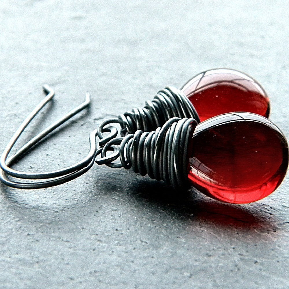 Scarlet Red Glass Teardrop Oxidized Sterling Silver Wire Wrapped Dangle Earrings - Fever