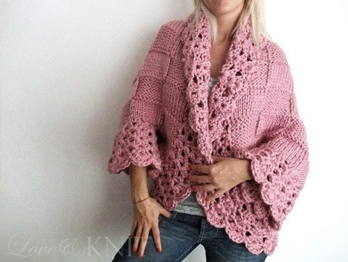 Big Pink Cardigan by LoveandKnit on Etsy