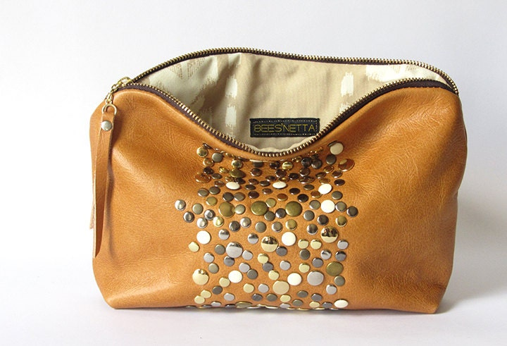 12-inch Zipper Pouch: mixed metal studded eco leather - Beesnetta