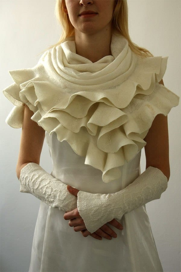 Elegant White Ruffle nuno felted shawl - Handmade silk and wool - Special Occasion