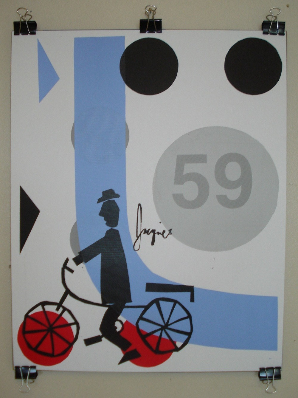 Jacques French Cyclist screen printed art Poster - 16 x 20 inches