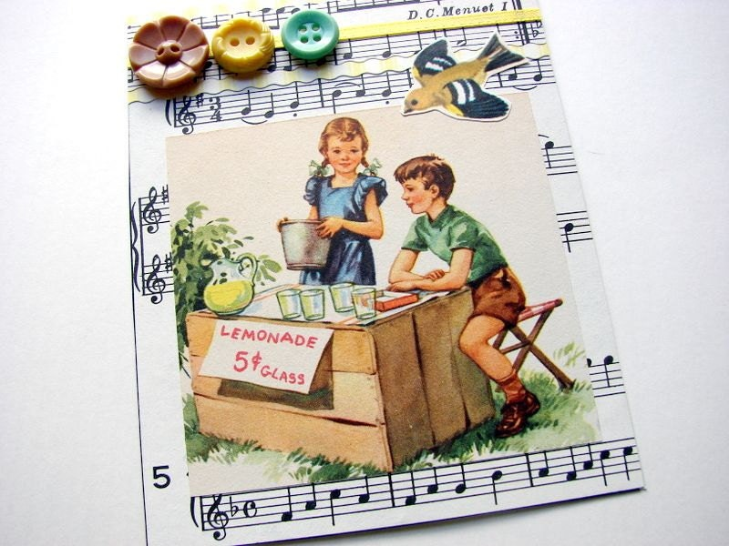 Lemonade Stand- An Original Collage Art Card- Retro Summer Children Bird