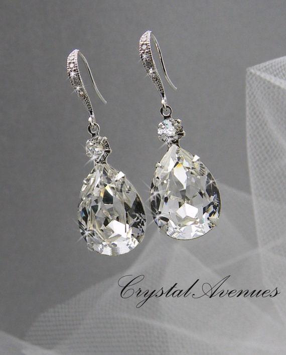 bridal earrings wedding jewelry by crystalavenues