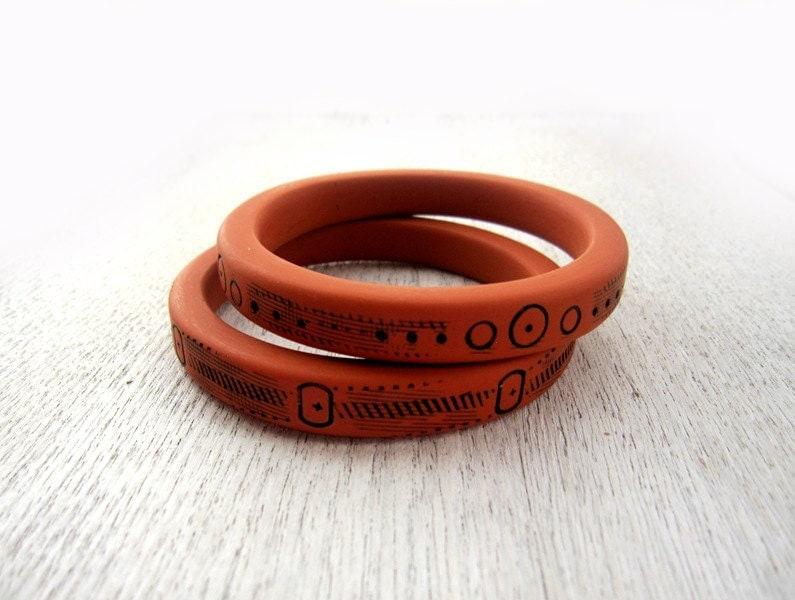 Stack bracelet - ethnic jewelry - ethnic bracelet - terracotta bracelet - TWO thin bracelets