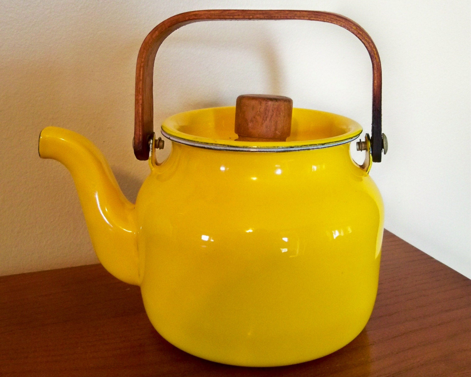 Sunshine Yellow Vintage Enamelware Small Teapot