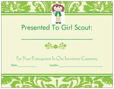 Girl Scout Junior Investiture Certificates | FotoFuze