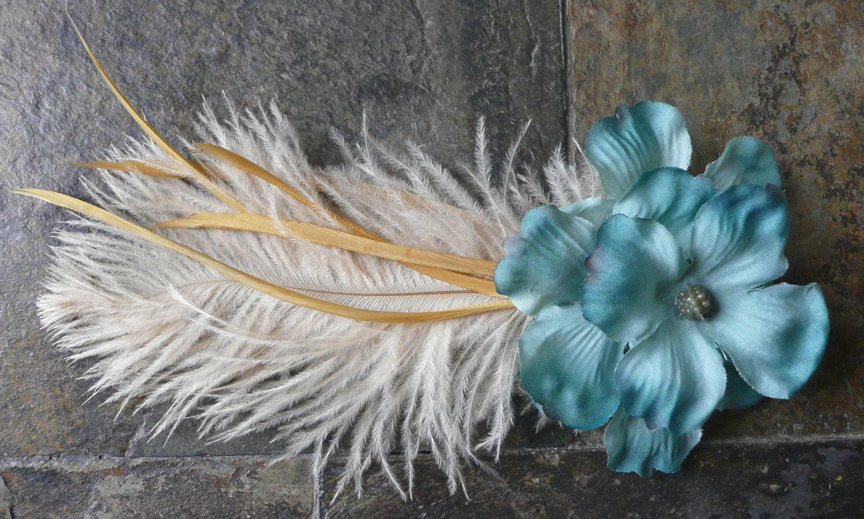 Ginger- Bundle of Dogwood Flowers w/ a Della Fantasia Feather- Free Worldwide Shipping