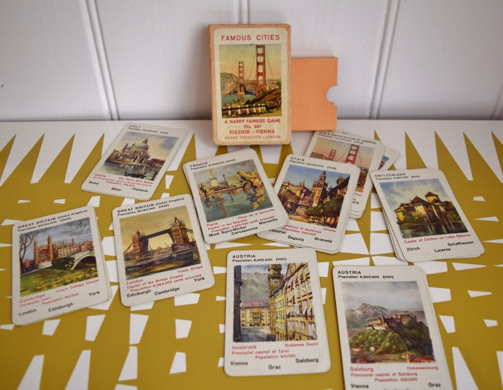 Splendid Vintage Happy Families game. Famous Cities No 287.  1950s.