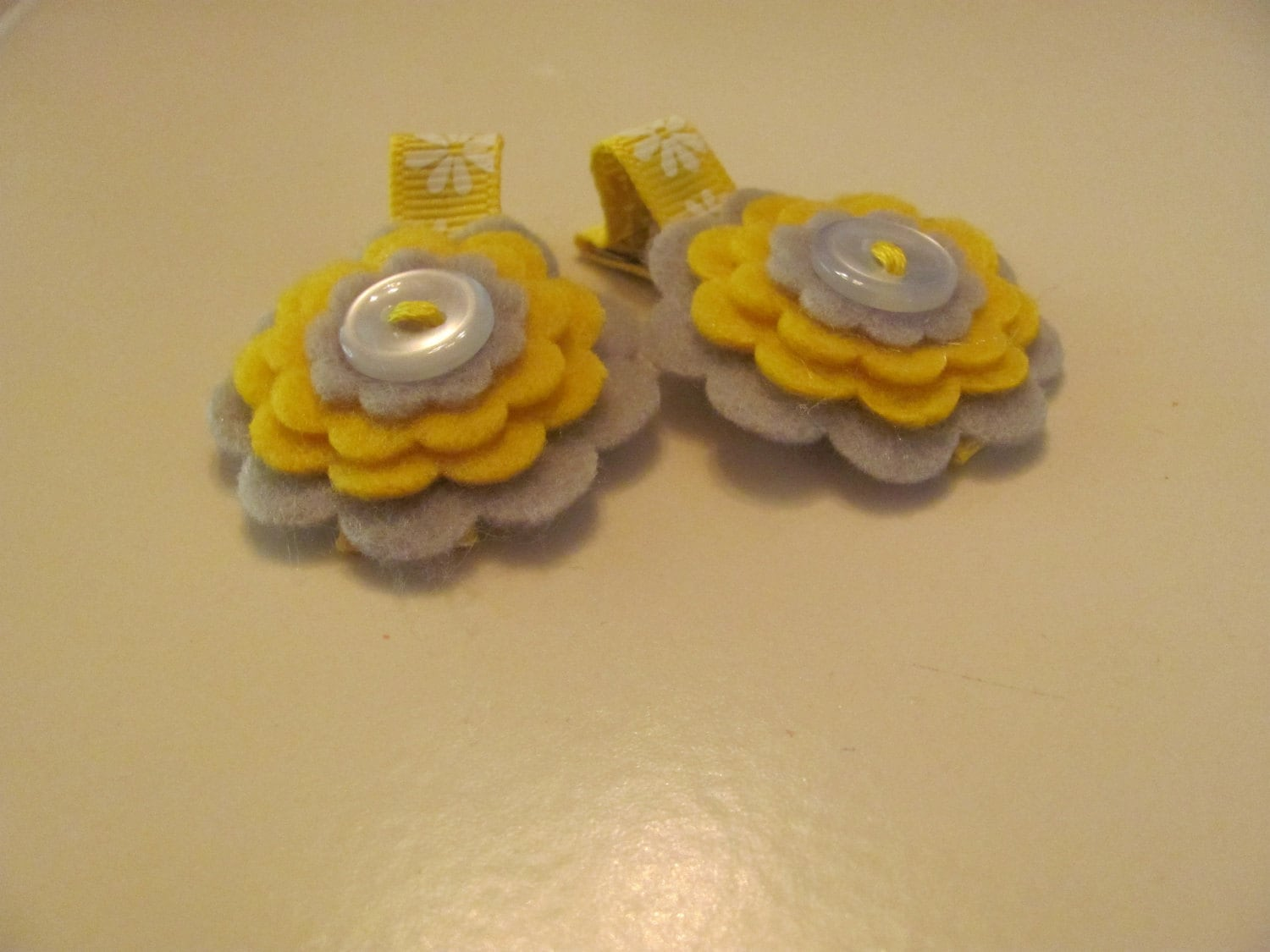 Grey and Yellow Felt Button Flower Hair Clip