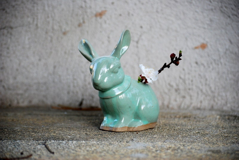 Bunny rabit planter pencil holder in mint green - claylicious