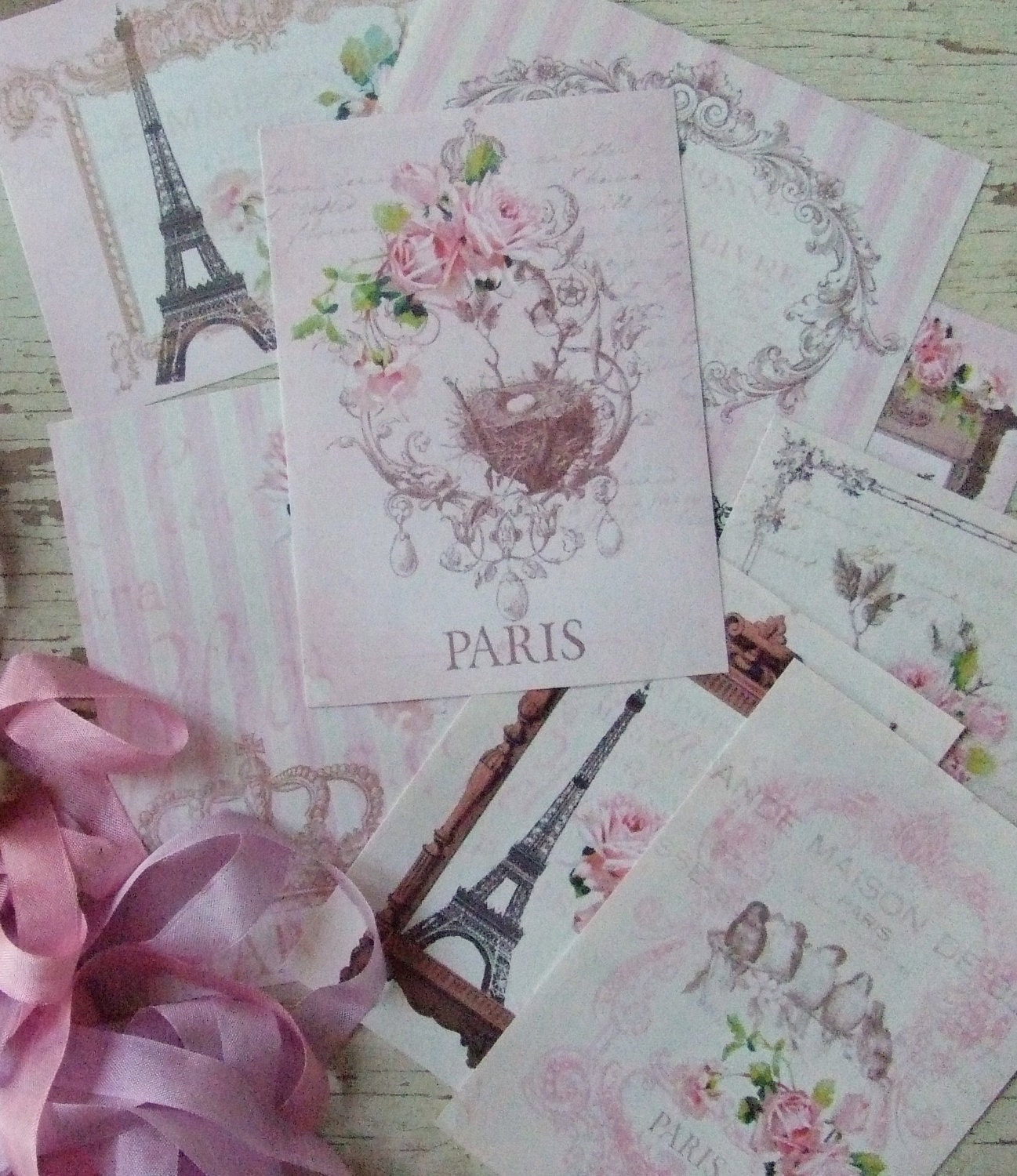 For Julie-Ann - Shabby Chic French cards -  Baby Pink Paris Cards - embellishments