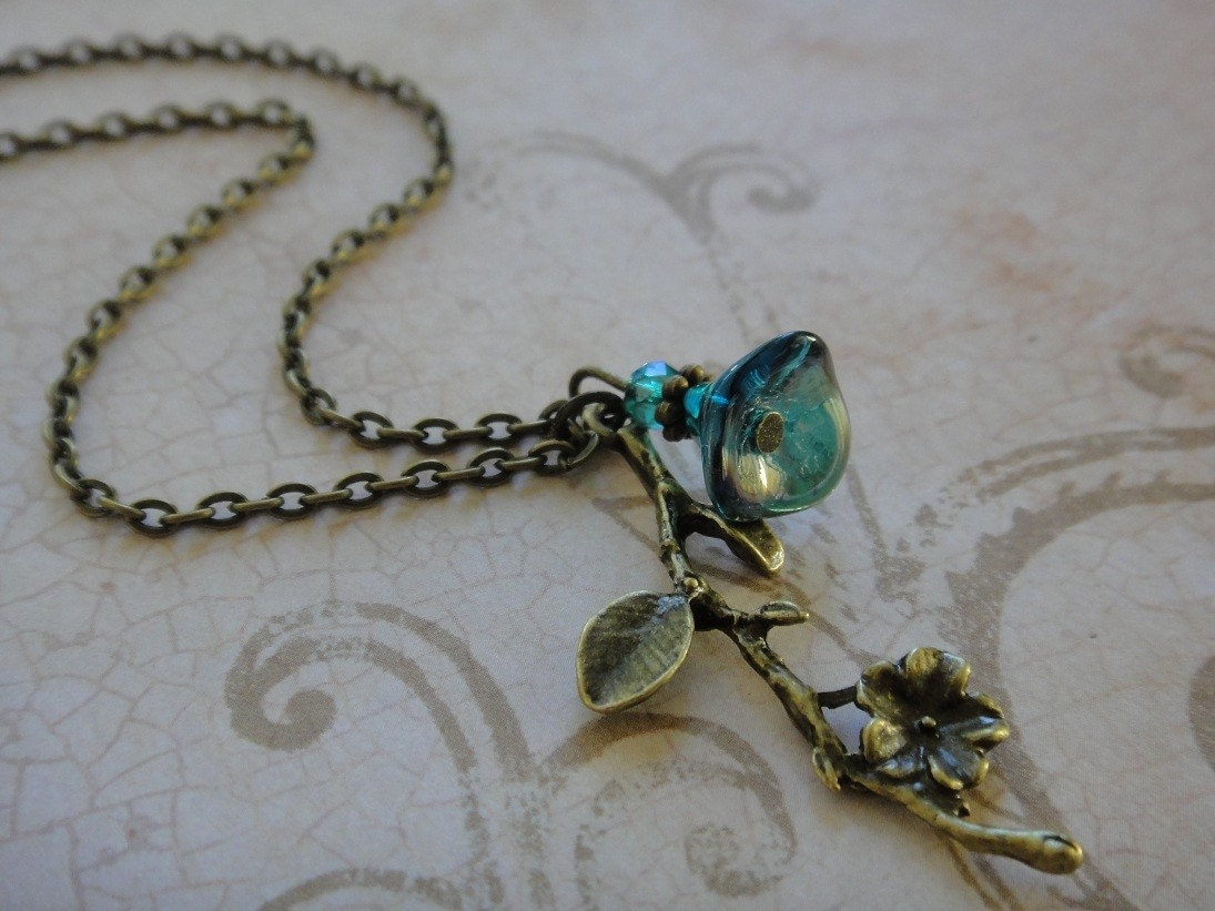 Violets are Blue Flower Branch Necklace