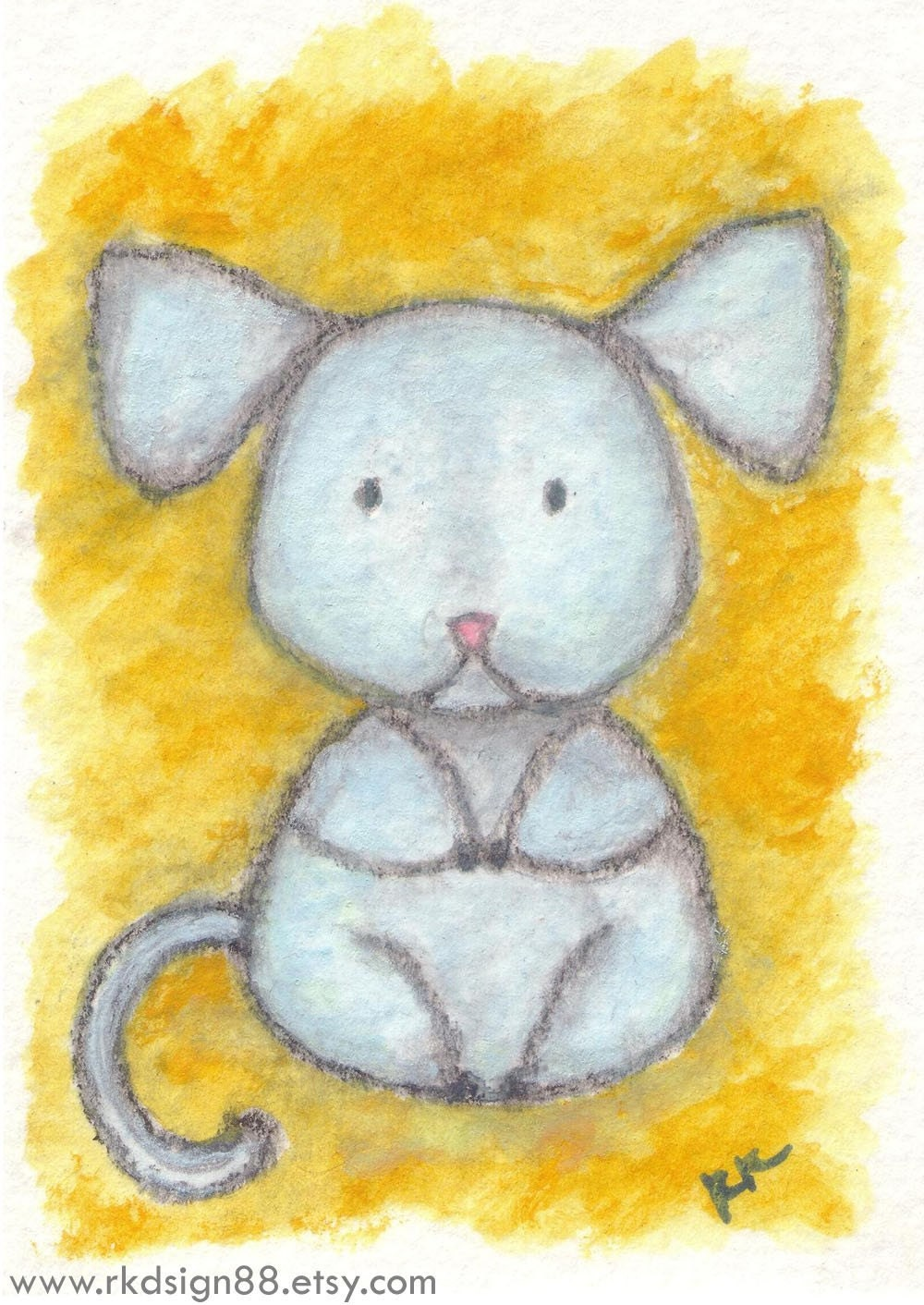 art painting aceo atc rkdsign88.blogspot.com rat mouse drawing etsy chinese zodiac watercolor