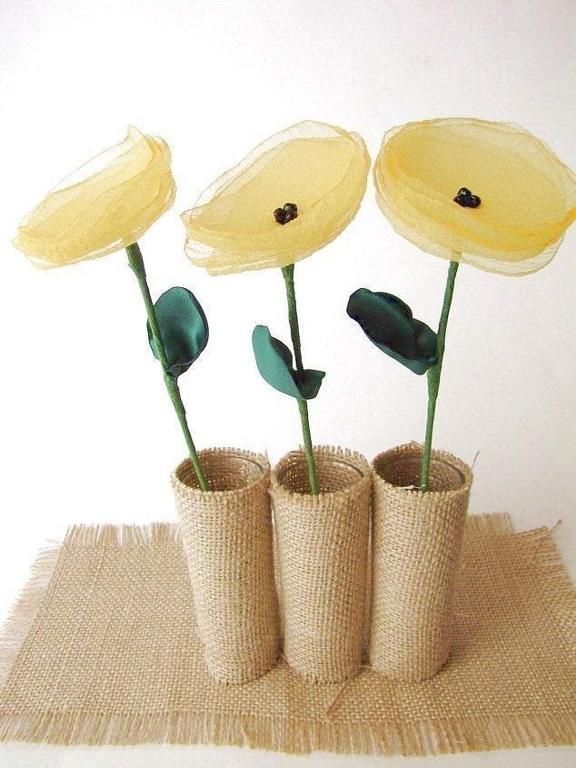 Handmade цветы со стеблями, комплект 3 шт-ЖЕЛТАЯ