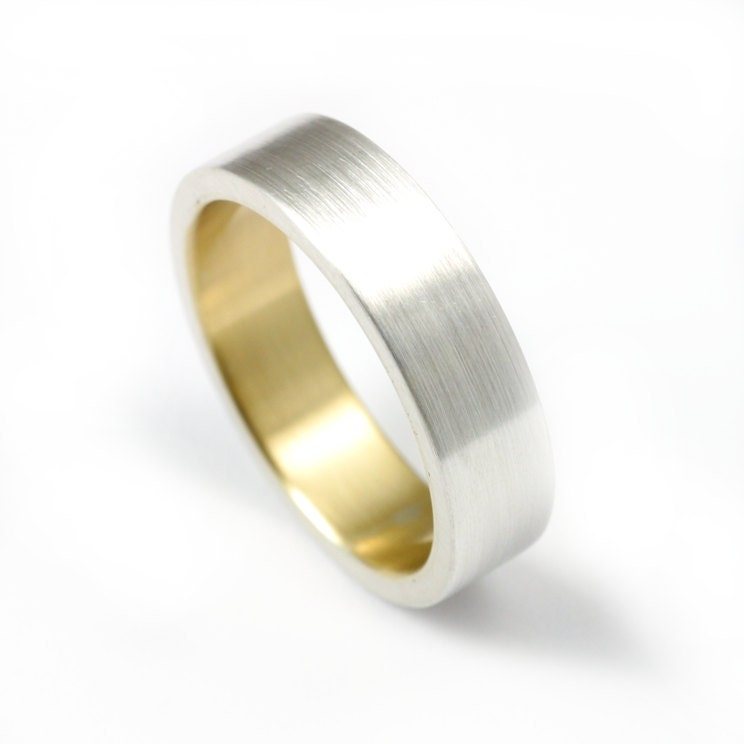 brushed s ring silver and gold by jessedanger on etsy