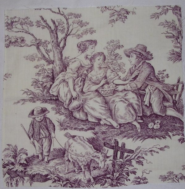 Vintage french fabric purple toile romantic country by for French toile fabric
