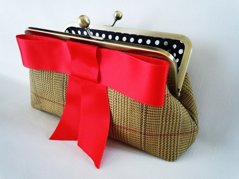 Christmas Plaid Clutch Purse with Red Bow
