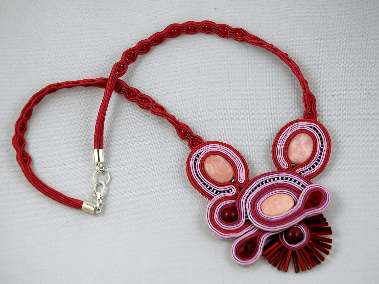 Touch Of Pink - Handmade Soutache Necklace for any occasion - ETSoutacheJewellery