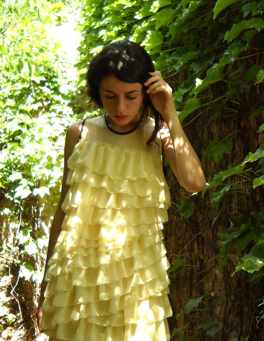 lemon layered mini flapper dress with origami pleats - one of a kind
