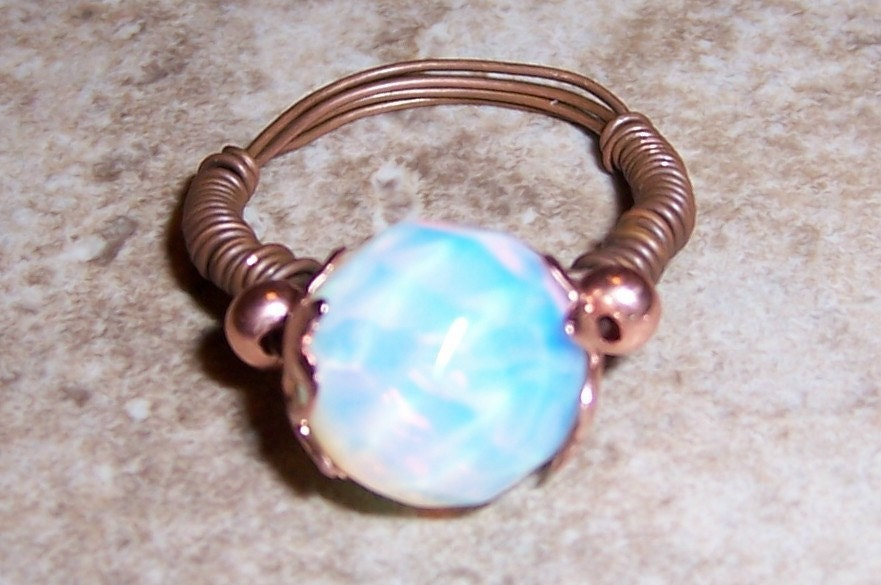 Mystic Orb Opalite Wire Wrapped Ring