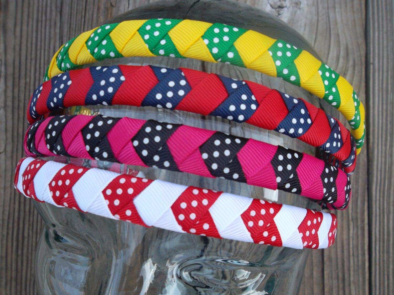 Chevron Braided Woven Headband Custom Colors Available - ransomletterhandmade