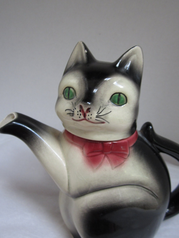 Antique Made In Japan Black Cat Teapot