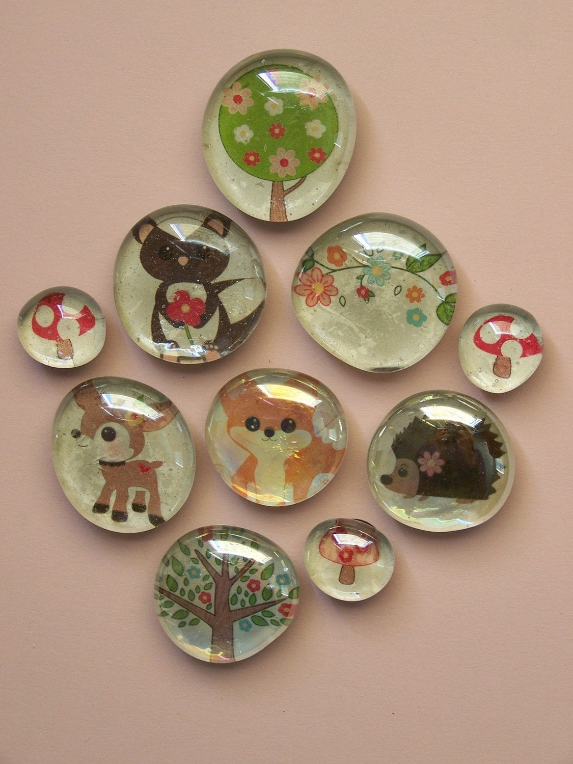 Set of 10 Flora Fauna Glass Marble Magnets