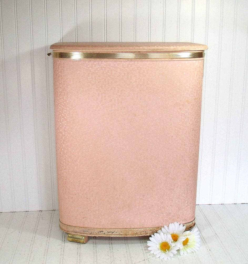 Large Pink Wicker Clothes Hamper Vintage Pearl By Divineorders
