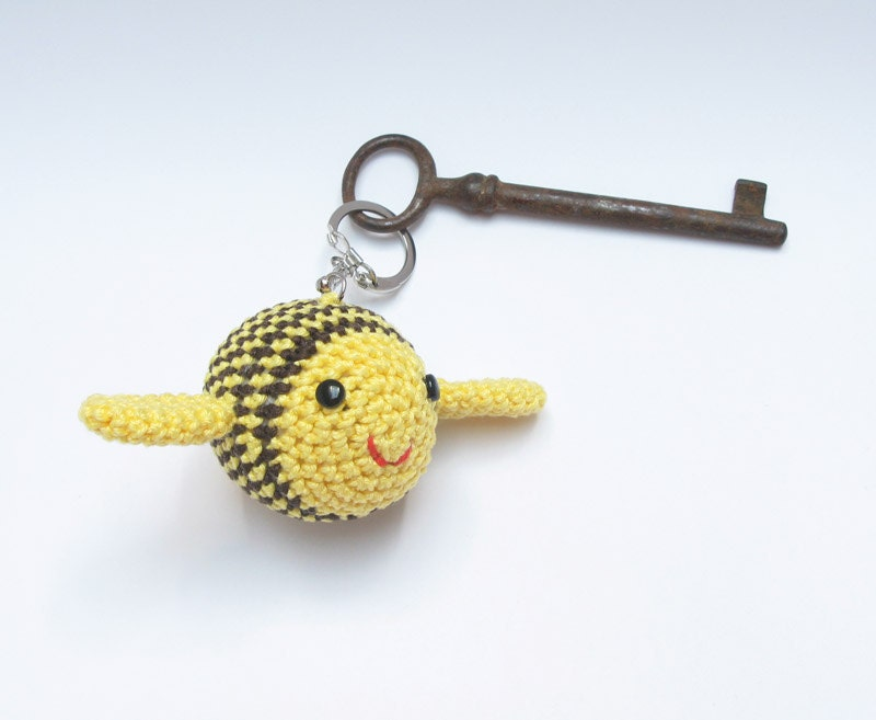 Made to Order Crocheted Bumble Bee Silvo Key Chain Pendant